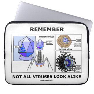 Remember Not All Viruses Look Alike Virology Laptop Computer Sleeves