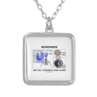 Remember Not All Viruses Look Alike Virology Silver Plated Necklace
