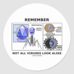 Remember Not All Viruses Look Alike (Virology) Round Stickers