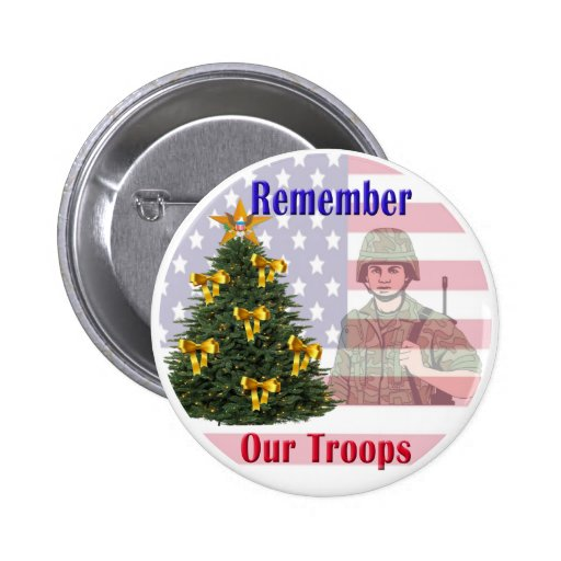 Remember Our Troops Holiday Button