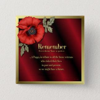 Remember Poppy 15 Cm Square Badge
