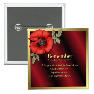 Remember Poppy 15 Cm Square Badge