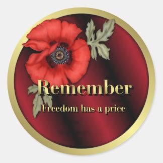Remember Poppy Classic Round Sticker