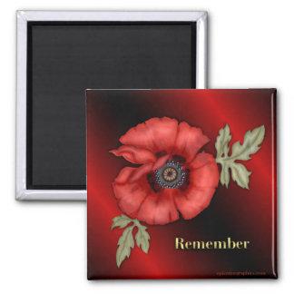 Remember Poppy Square Magnet