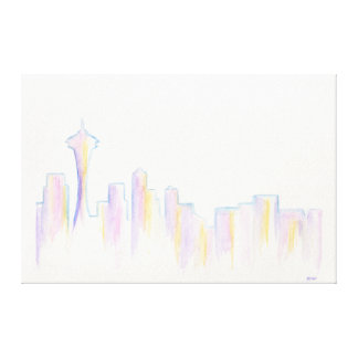 Remember Seattle Stretched Canvas Print