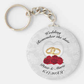 Remember The Date Wedding Hearts and Roses Key Ring