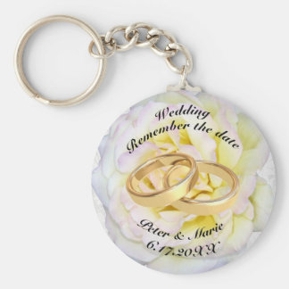 Remember The Date Wedding Rings and Rose Basic Round Button Key Ring