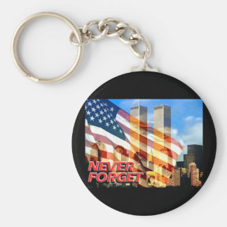 Remember The Terrorist Attacks on 9/11/01 Basic Round Button Key Ring