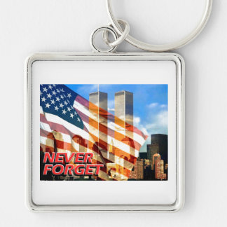 Remember The Terrorist Attacks on 9/11/01 Silver-Colored Square Key Ring