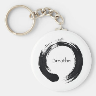 Remember to Breathe! Basic Round Button Key Ring
