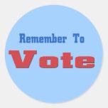 Remember to Vote Round Sticker