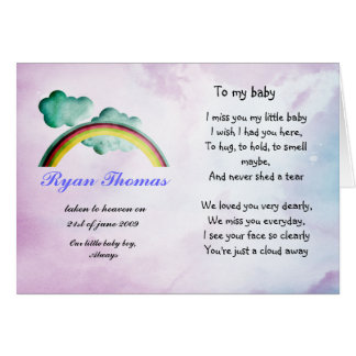 Rememberance card for baby or child