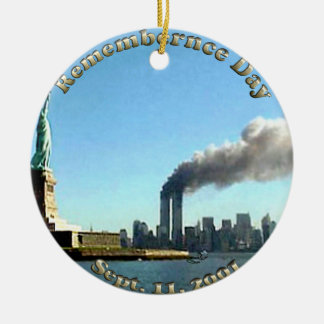 Rememberance Day 911 Sept. 11, 2001 Round Ceramic Decoration