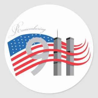 Remembering 911 customizable designs classic round sticker