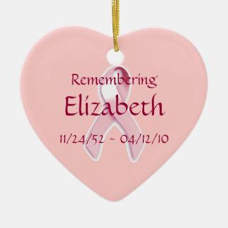 """Remembering____"" Breast Cancer Awareness Ribbon Christmas Ornament"