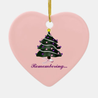"""""""Remembering.."""" Christmas Tree/Breast Cancer Aware Christmas Ornament"""