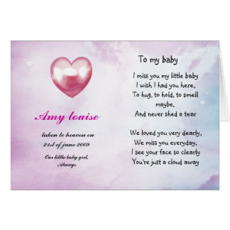 Remembrance card for baby or child