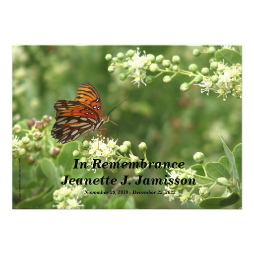Remembrance Memorial Service Invitation, Butterfly Announcement