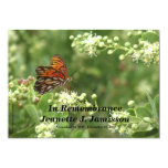 "Remembrance Memorial Service Invitation, Butterfly 5"" X 7"" Invitation Card"