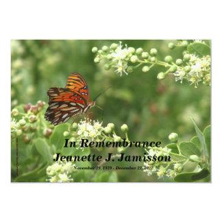 Remembrance Memorial Service Invitation, Butterfly 13 Cm X 18 Cm Invitation Card