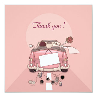 remerciement wedding car 13 cm x 13 cm square invitation card