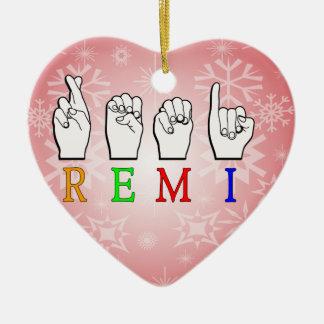 REMI ASL FINGERSPELLED NAME SIGN CERAMIC HEART DECORATION