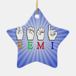 REMI ASL FINGERSPELLED NAME SIGN CERAMIC STAR DECORATION