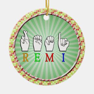 REMI ASL FINGERSPELLED NAME SIGN ROUND CERAMIC DECORATION