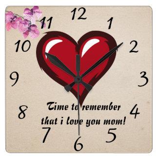 Reminder love mom square wall clock