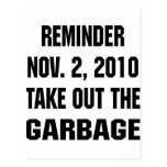 Reminder Nov. 2, 2010 Take Out The Garbage Postcard