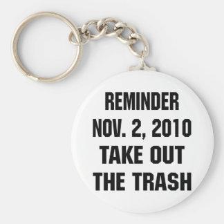 Reminder Nov. 2, 2010 Take Out The Trash Basic Round Button Key Ring