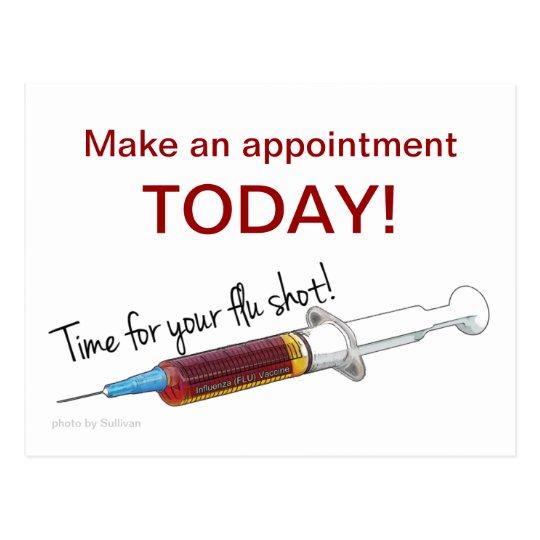 Reminder to schedule a flu shot postcard