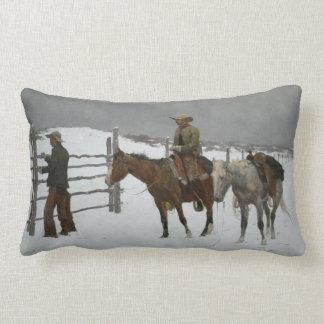 "Remington's ""The End of the Cowboy."" Lumbar Cushion"