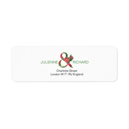 Reminiscence | Modern floral ampersand Return Address Label