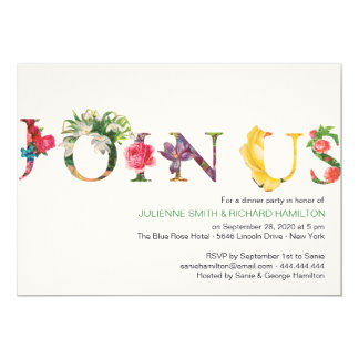 "Reminiscence | Modern floral ""Join us"" Card"