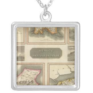 Remote British islands Square Pendant Necklace