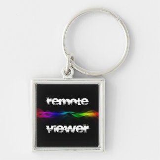 Remote Viewing Silver-Colored Square Key Ring