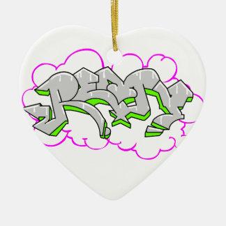 Remy Name Graffiti Ceramic Heart Decoration