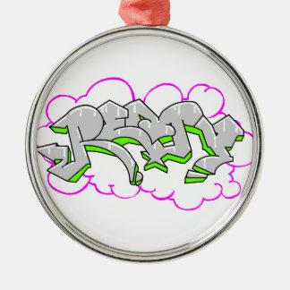 Remy Name Graffiti Silver-Colored Round Decoration