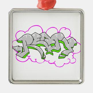 Remy Name Graffiti Silver-Colored Square Decoration