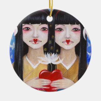 Ren Cho and Shinobu Round Ceramic Decoration