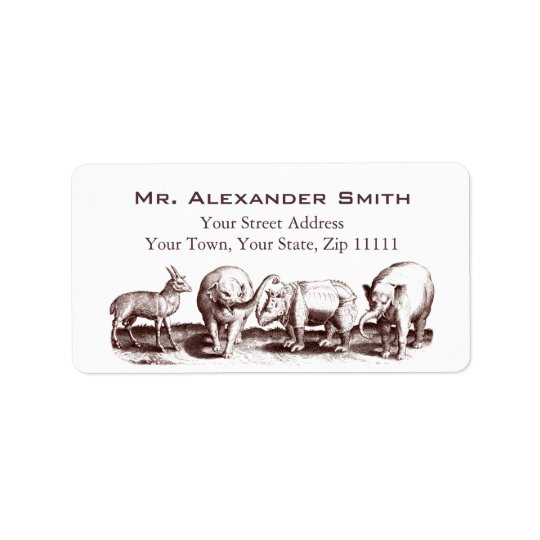 Renaissance Animal Engraving Elephants, Rhino Address Label