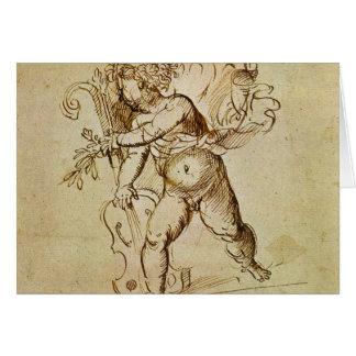 Renaissance Art, Cupid with a Violin by Campagnola Greeting Card
