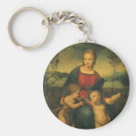 Renaissance Art, Madonna of the Goldfinch, Raphael Basic Round Button Key Ring