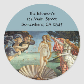 Renaissance Art, The Birth of Venus by Botticelli Round Sticker