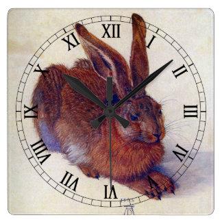 Renaissance Art, Young Hare by Albrecht Durer Square Wall Clock