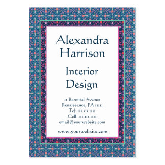 Renaissance Arts and Crafts Green Floral Pattern Business Card Templates