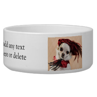 Renaissance Chihuahua in Red Velvet Pet Water Bowl