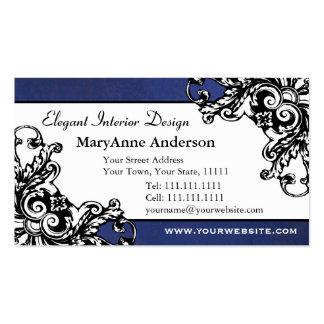 Renaissance Flourish Elegant Antique Vintage Blue Business Card Template