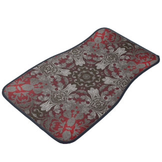 renaissance gothic metallic red and black mandala car mat